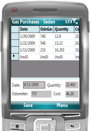 Screen to display and edit gas purchases
