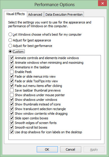 """Enable Peek"" in Windows 8 is on by default"