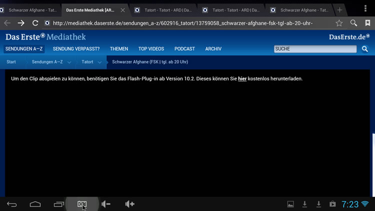 Flash error on daserste.de