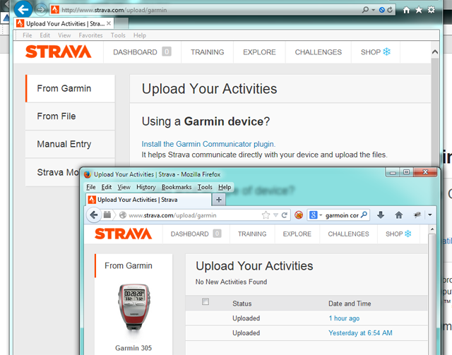 Strava running side by side on IE 11 and Firefox 26.