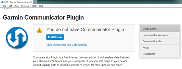 Garmin page does not detect the plugin