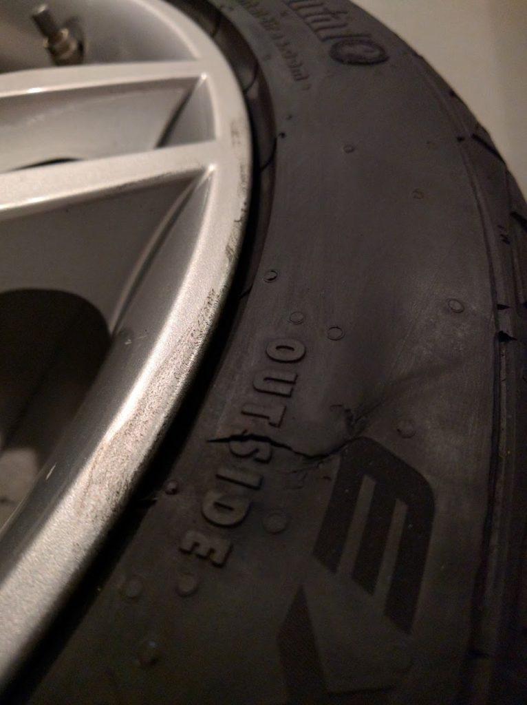 Gash in tire sidewall